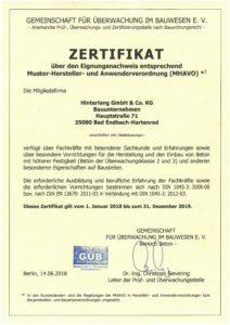 Zertifikat MHAVO
